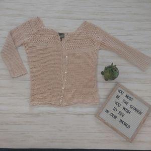 Eddie Bauer Hand Crocheted Knit Boho Cardigan
